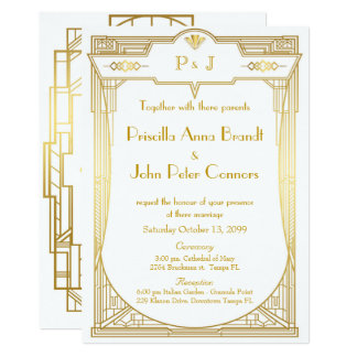 Wedding invitation card,Great Gatsby,gold on white