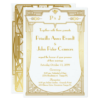 Wedding invitation card,Great Gatsby,gold white 2