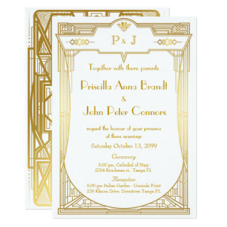 Wedding invitation card,Great Gatsby,gold white 2b