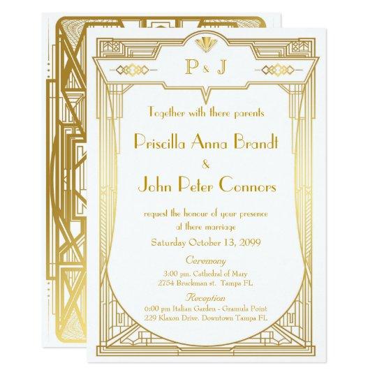 Great Gatsby Wedding Invites: Wedding Invitation Card,Great Gatsby,gold White 2b