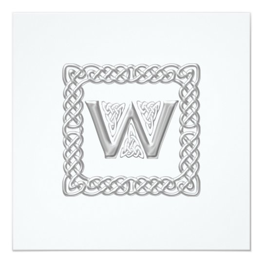 Wedding Invitation Celtic Monogram Letter W