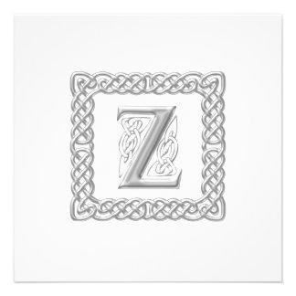Wedding Invitation Celtic Monogram Letter Z