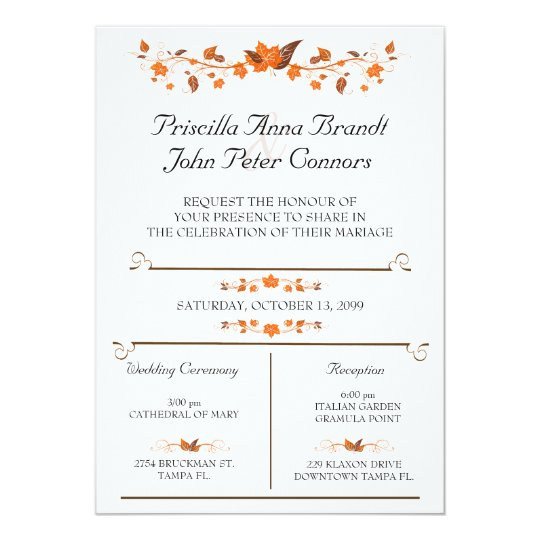 Wedding Invitation Ceremony Fall Leaves Theme