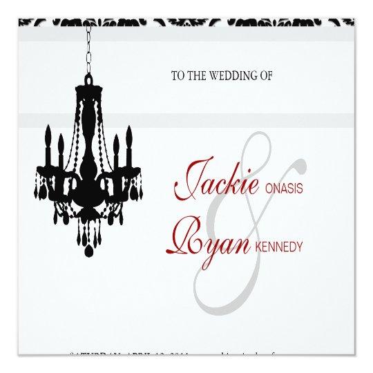 Wedding Invitation Chandelier Black White Damask
