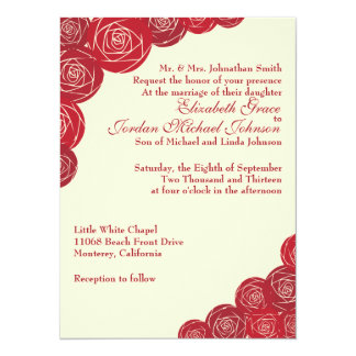 Wedding Invitation Classic Rose Floral in Red