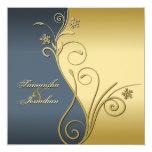 """Wedding Invitation Classy Blue Gold Floral 5.25"""" Square Invitation Card"""