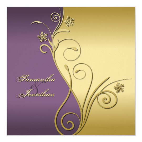 Wedding Invitation Classy Purple Gold Floral