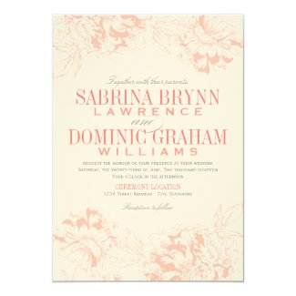 Wedding Invitation | Coral Floral Peony Design
