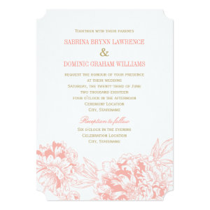 Wedding Invitation | Coral Floral Peony Design 5