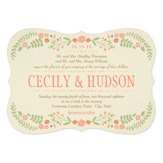 Wedding Invitation | Country Florals Pink Personalized Invitation