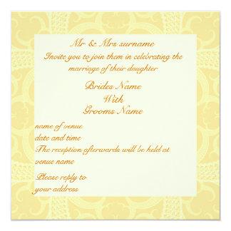Wedding Invitation - Cream Ivory Gold Pattern