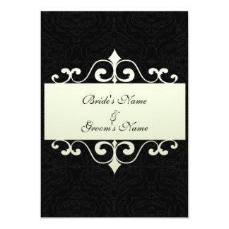 "Wedding Invitation - Crystal White on Black backgr 5"" X 7"" Invitation Card"
