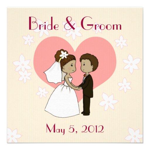 "Wedding Invitation Cute Couple Cartoon 5.25"" Square"