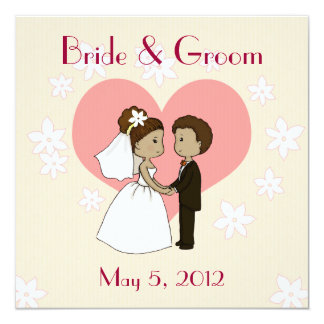 Wedding invitation cute couple cartoon