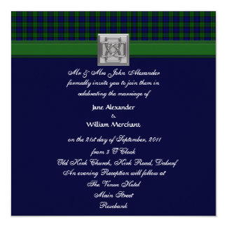 Wedding Invitation Dark Black Watch Tartan