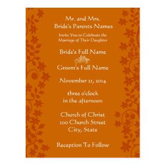 Wedding Invitation Deep Orange Swirls and Flowers Postcards