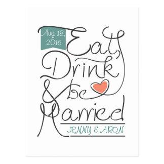 Wedding invitation design postcard