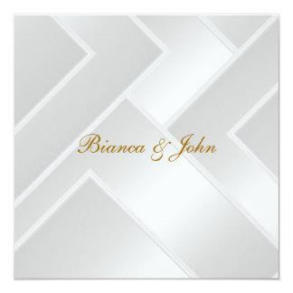 "Wedding Invitation Elegant Art Deco White 5.25"" Square Invitation Card"