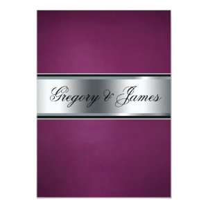 Wedding Invitation, Elegant Burgundy and Silver 5