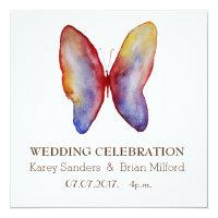Wedding Invitation, Elegant ,Butterfly  Art Invitation
