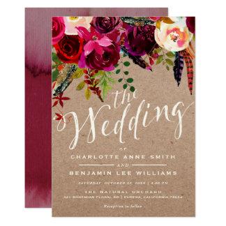 WEDDING INVITATION | Elegant Floral Rustic Boho