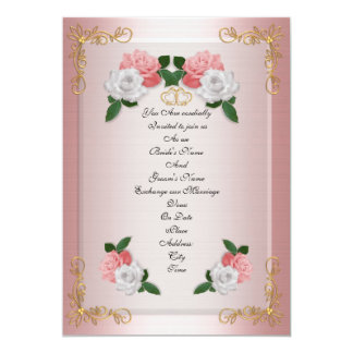 Wedding invitation elegant formal pink roses