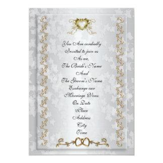 Wedding invitation elegant gold hearts