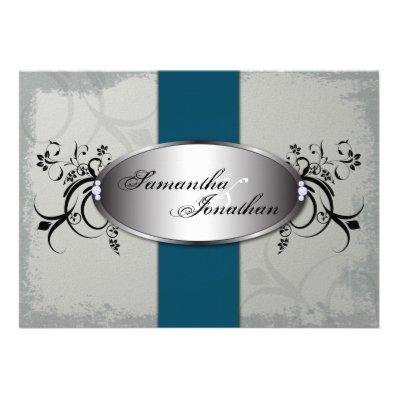 Wedding Invitation Elegant Gray Blue Aged Floral