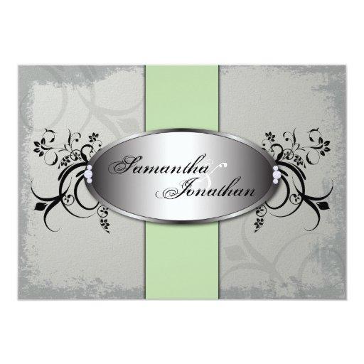 Wedding Invitation Elegant Gray Green Aged Floral