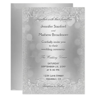 Wedding Invitation Elegant Silver Faux Glitter