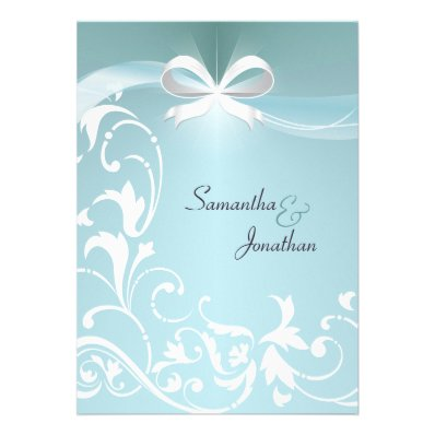 Wedding Invitation - Elegant Teal Floral Ribbon