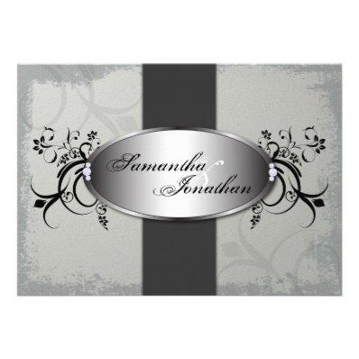 Wedding Invitation Elegant Vintage Gray Floral