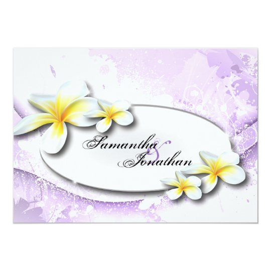 Wedding Invitation Elegant Vintage Plumeria Floral