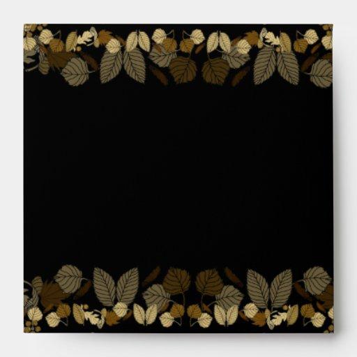 Wedding Invitation Envelope Black Gold Leaf