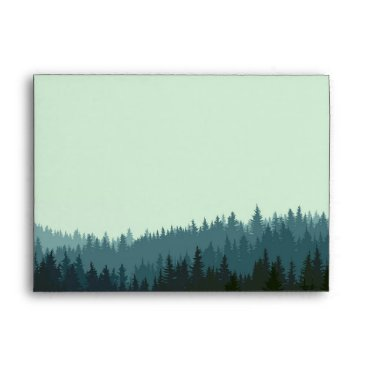 langdesignshop Wedding invitation envelope with mountains in blue