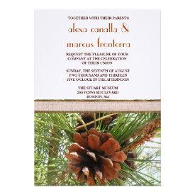Wedding Invitation - Evergreen and Pine Cone Scene