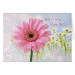Wedding invitation, Flower Girl, pink Gerbera Card