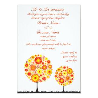 Wedding Invitation - Flower Wishing Tree Orange