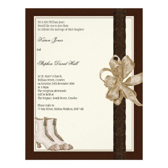 Wedding invitation flyer from brides mother & fath