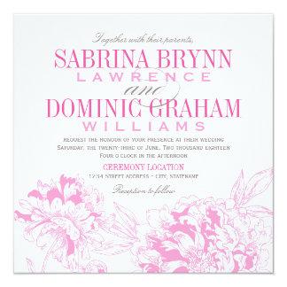 Wedding Invitation   Fuchsia Floral Peony Design
