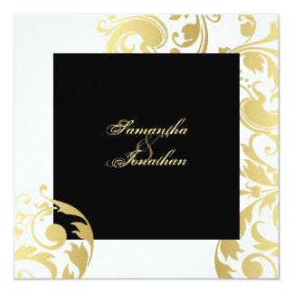 Wedding Invitation Gold Black White Elegant Floral