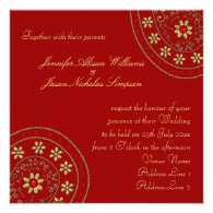 Wedding Invitation Gold & Jewels Indian Inspired