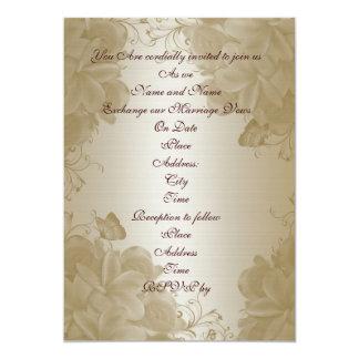 Wedding invitation gold satin plumeria