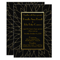 Wedding invitation, great gatsby, dahlia geometric card