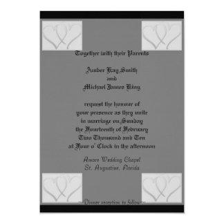 Wedding invitation grey and black two side print