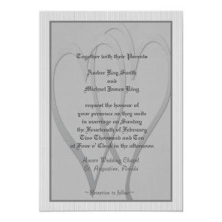 Wedding invitation grey and silver 2 hearts