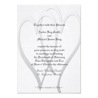 Wedding invitation grey and white 2 hearts
