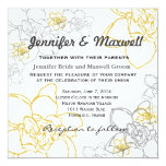 Wedding Invitation Grey and Yellow Flowers