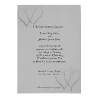 Wedding invitation grey silver 2 hearts