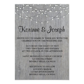Wedding Invitation Grey, wood, String Light